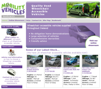 Home page of the Mobility Vehicles Ireland website.